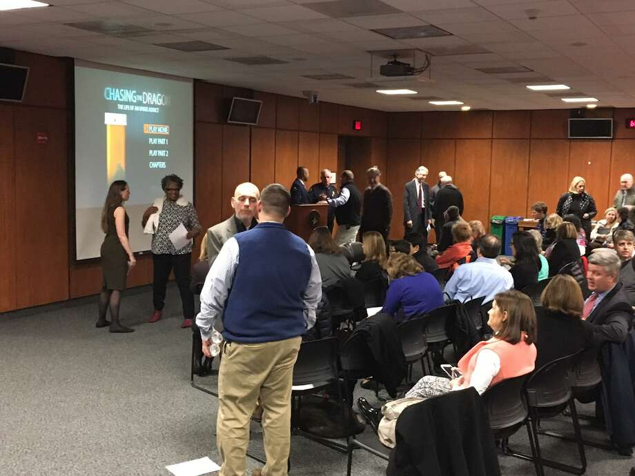 A panel of experts on drug abuse at Greenwich Town Hall included experts from medicine, law enforcement, social services and addiction recovery. Photo: /
