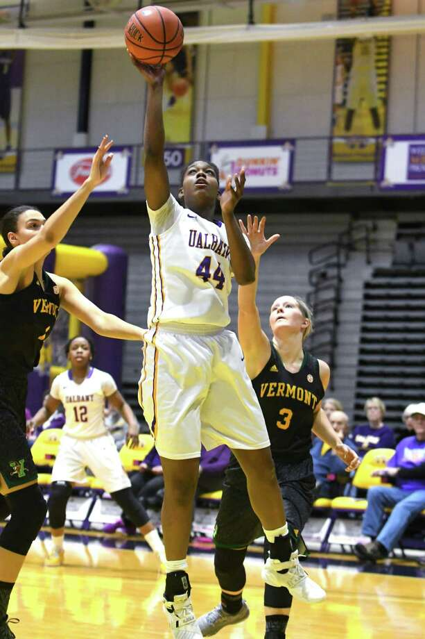 University at Albany's Chyanna Canada puts up a shot during a basketball game against Vermont at the SEFCU Arena on Thursday, Jan. 26, 2017 in Albany, N.Y. (Lori Van Buren / Times Union) Photo: Lori Van Buren / 20039546A