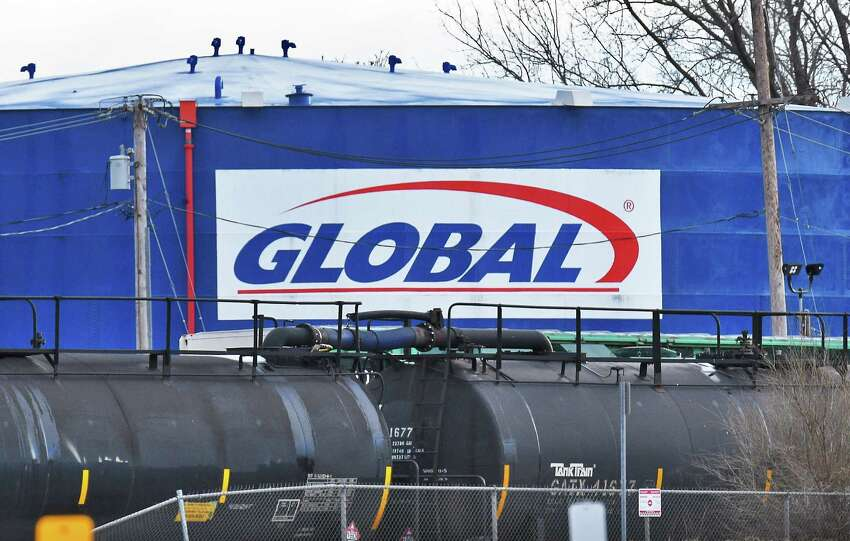 Rail tank cars and storage tank at the Global Partners facility at the Port of Albany on Thursday, Jan. 26, 2017, in Albany, N.Y. (John Carl D'Annibale / Times Union)