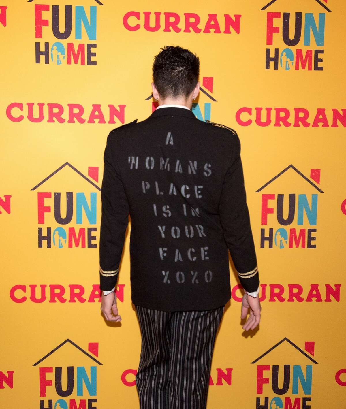 Machine Dazzle poses for a photo at the Curran Theater where the SF premiere of the Tony-winning Broadway musical �Fun Home,� is performed in San Francisco on January 26, 2017.