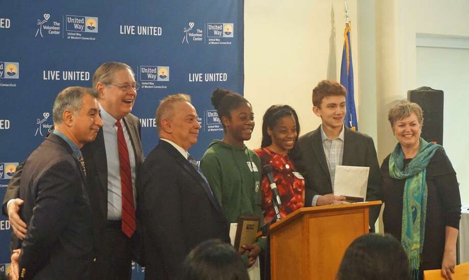 (L to R) State Sen. Carlo Leone (D-27), Mayor Stamford David Martin, Member of the Stamford Community Council Sandy Weinberg, Jenna Hyman, 14, of Stamford, Educational Advocate for Chester Addison Community Center Aysha Ramseur, Zachary Groz, 14, of Stamford and Chief Executive Officer of United Way of Western Connecticut Kim Morgan. Hyman and Groz were honored with Outstanding Youth Volunteer awards at the 20th Annual Stamford Volunteer Day on Jan. 27, 2017. Photo: Emilie Munson
