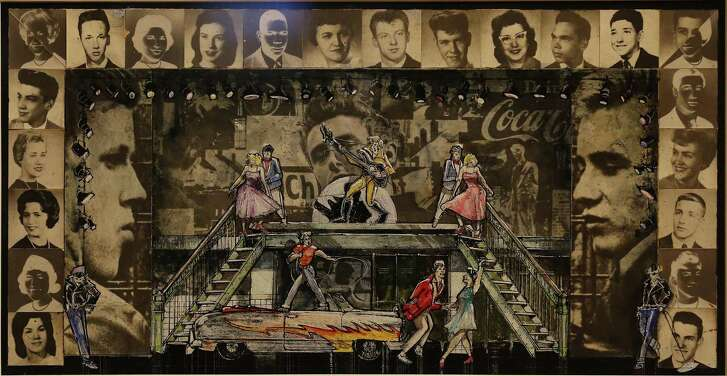"""Scene design for """"Grease"""" by Douglas Schmidt on display as the McNay Art Museum pulls all sorts of treasures from the Robert Tobin Collection for its """"100 Years of Musical Theatre"""" exhibit."""