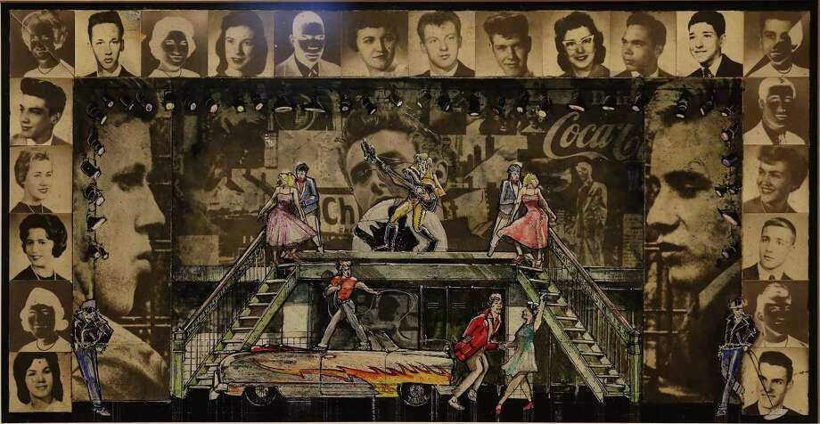 """Scene design for """"Grease"""" by Douglas Schmidt on display as the McNay Art Museum pulls all sorts of treasures from the Robert Tobin Collection for its """"100 Years of Musical Theatre"""" exhibit. Photo: Kin Man Hui /San Antonio Express-News / ©2017 San Antonio Express-News"""