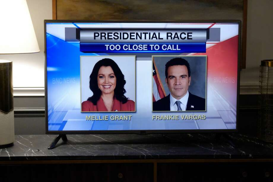 "On 'Scandal's' midseason premiere on ABC: The election results for the presidential race between Mellie Grant and Francisco Vargas were announced on 'Scandal' Thursday night -- and the shocking results lead to an explosive outcome, on the highly anticipated season premiere of ""Scandal."" Pictured are Bellamy Young as the Republican candidate and San Antonio's Ricardo Chavira as the Democratic nominee. Photo: Tony Rivetti/ABC"