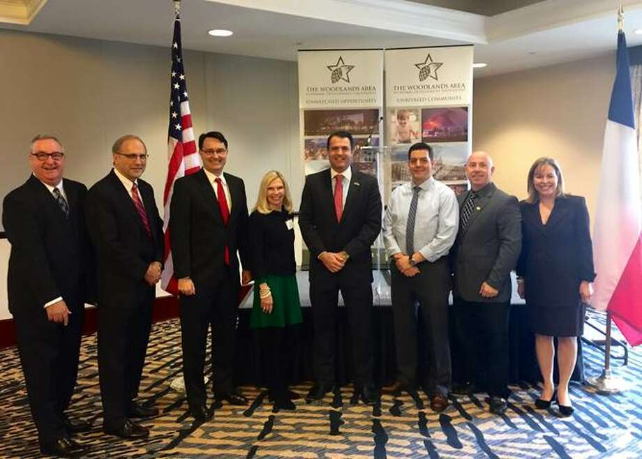 From left to right: Gil Staley, CEO of The Woodlands Area Economic Development Partnership; Don Norrell, president and general manager of The Woodlands Township; John McMullan, vice chairman of The Woodlands Township board; Dr. Ann Snyder, treasurer of The Woodlands Township board; Gordy Bunch, chairman of The Woodlands Township board; Brian Boniface, director of The Woodlands Township board; John Anthony Brown, director of The Woodlands Township board; and Debra Sukin, chairman of The Woodlands Area Economic Development Partnership Board of Directors. Photo: Submitted