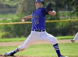 Saratoga pitcher Dan Coleman throws the ball during a baseball game against Shaker on Friday, May 8, 2015 in Latham, N.Y. (Lori Van Buren / Times Union)