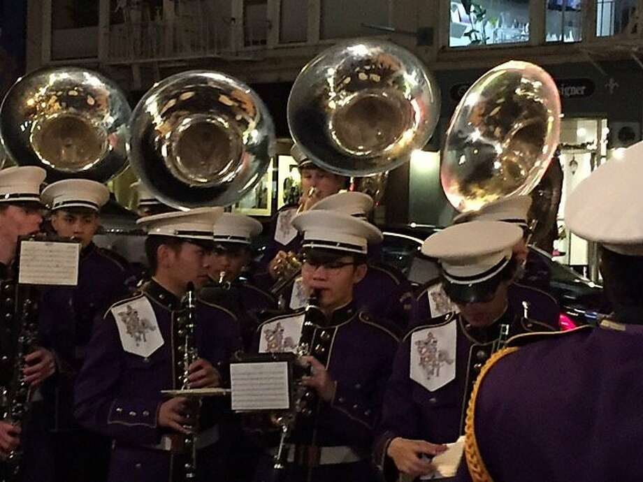 Riordan High School Marching Band plays outside Curran Photo: Leah Garchik, San Francisco Chronicle