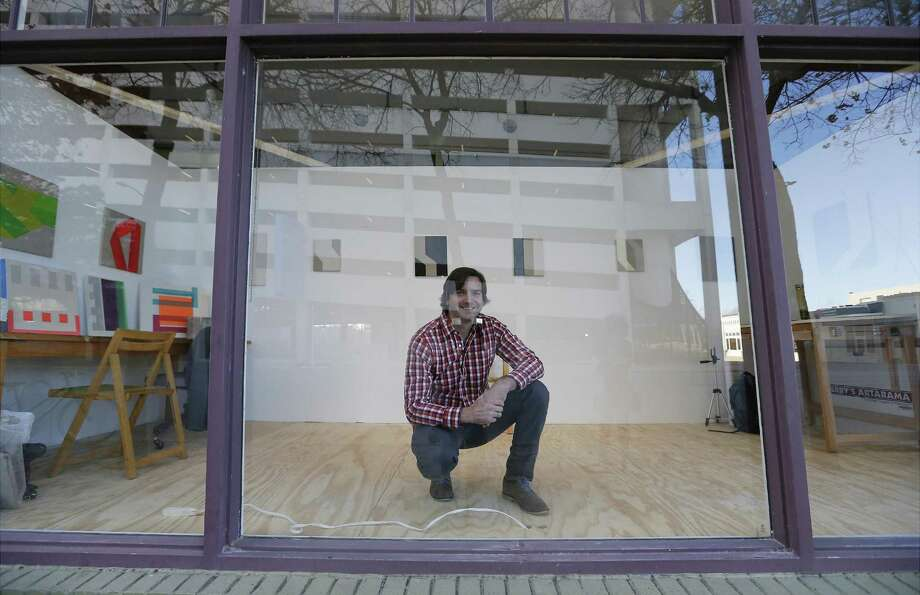 """For the next three months, artist Benjamin McVey is moving his painting studio into Artpace's Main Space — formerly the Window Works gallery — which faces the street artist for his exhibition """"Open."""" Photo: Kin Man Hui /San Antonio Express-News / ©2017 San Antonio Express-News"""
