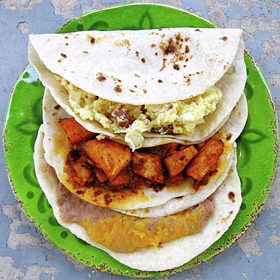 Breakfast tacos at three for $2.99 at Yorky's Taco House. Photo: Mike Sutter /San Antonio Express-News