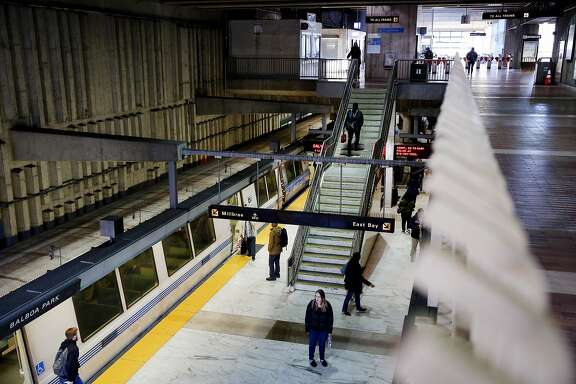 A Daly City bound BART train arrives at the Balboa Park Station on Friday, Jan. 27, 2017, in San Francisco, Calif.