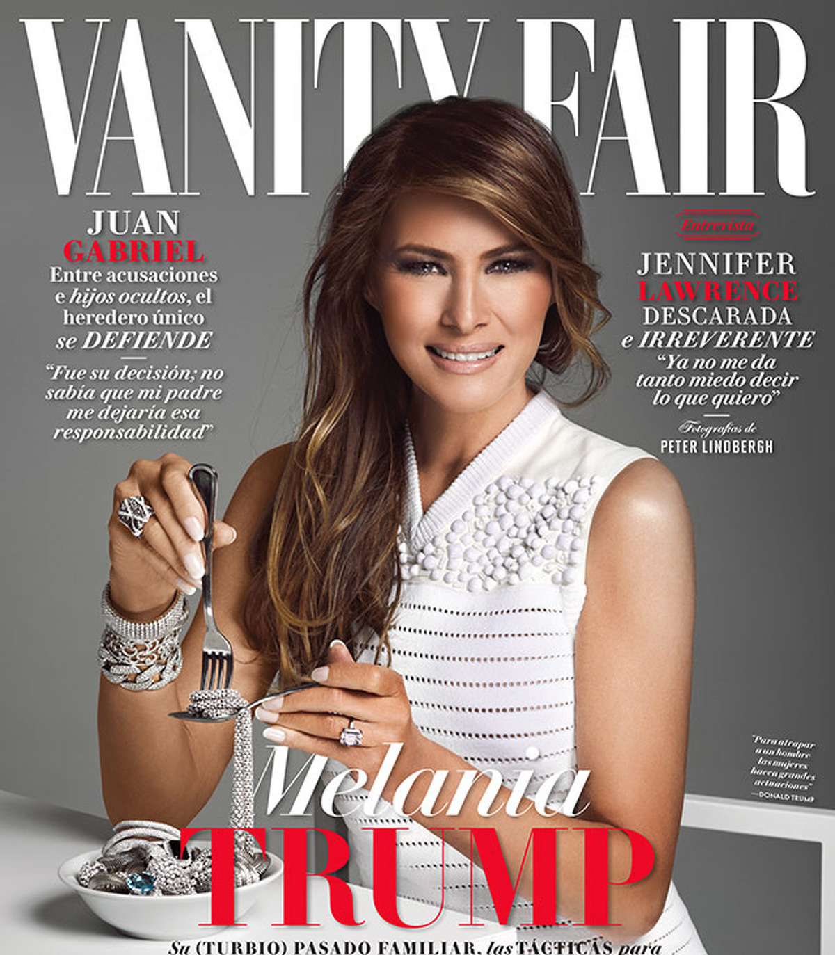 PHOTOS: Controversial magazine covers First lady Melania Trump appears to eat a spaghetti strand made of diamonds on the cover of Vanity Fair Mexico at a time when her husband, President Donald Trump, is doubling down on his plans to build a border wall. See other recent controversial magazine covers ...