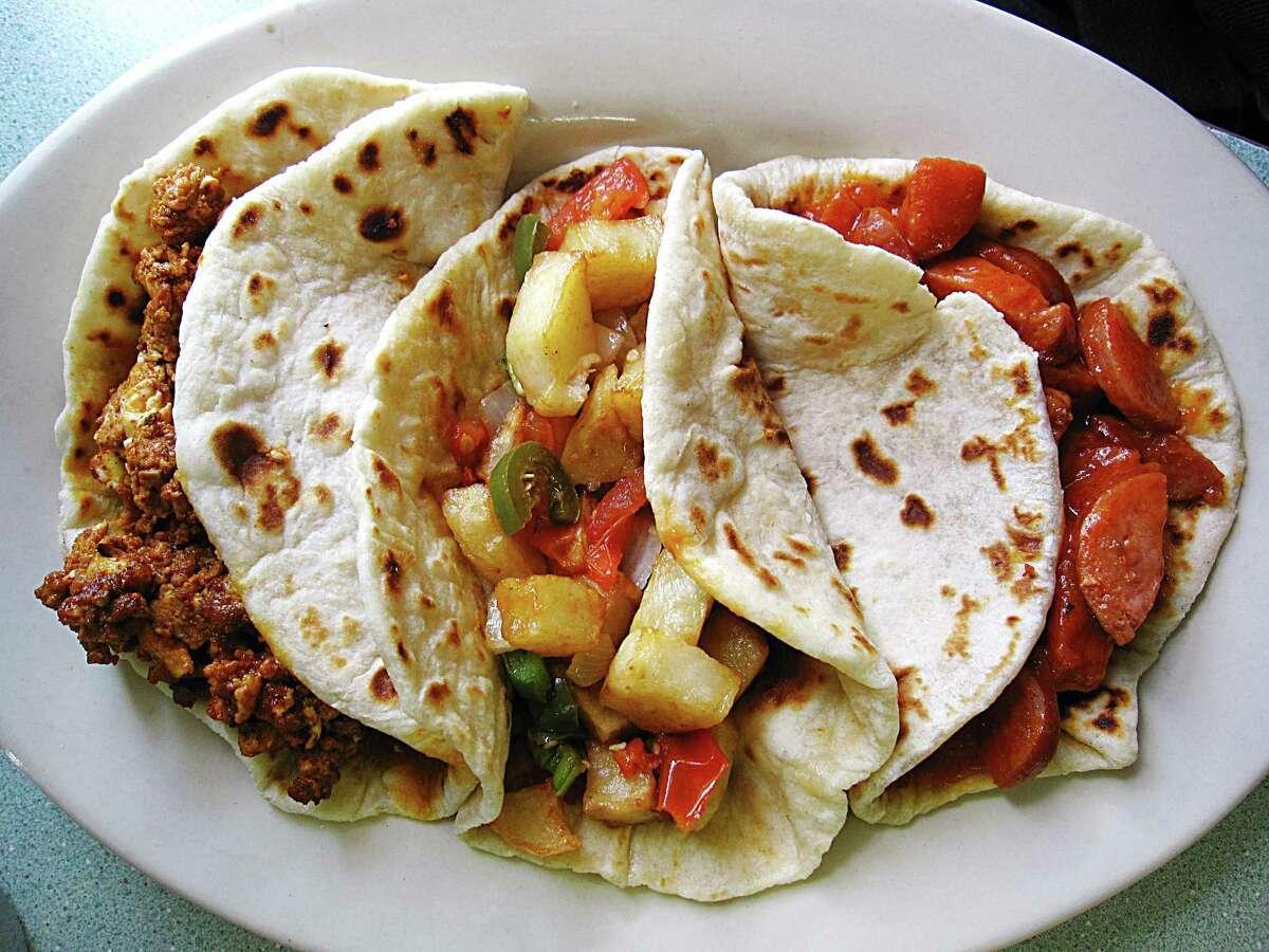 Mendez Cafe: Papas rancheras taco. 201 Bartholomew Ave., 210-923-6603, Facebook:Mendez Cafe
