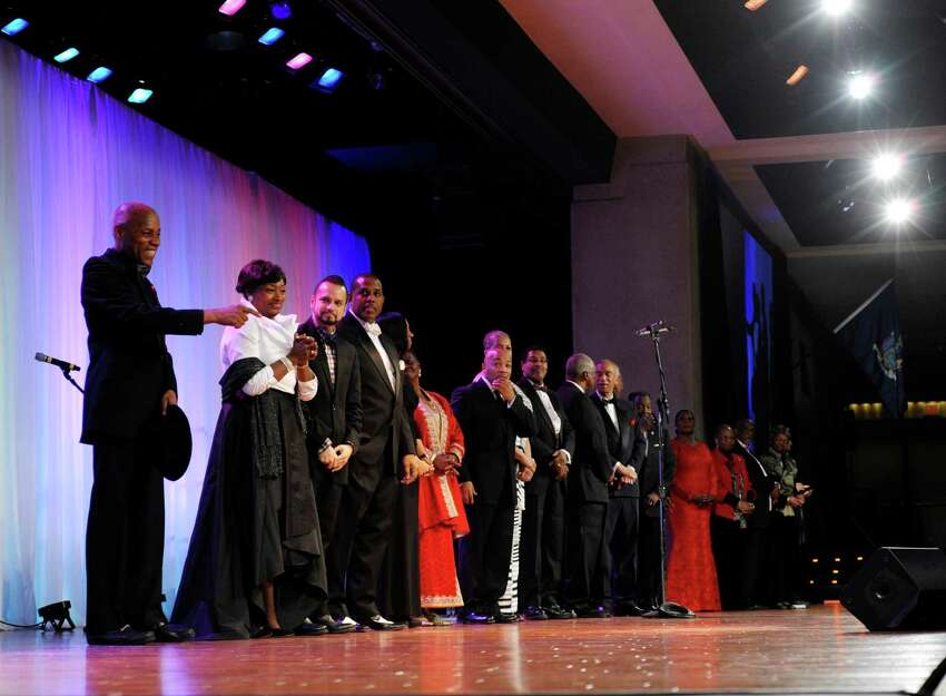 Members of the New York State Association of Black and Puerto Rican Legislators walk out on stage as they are introduced during the closing event of the association's 43rd annual conference weekend on Sunday, Feb. 16, 2014, in Albany, N.Y. (Paul Buckowski / Times Union archive)