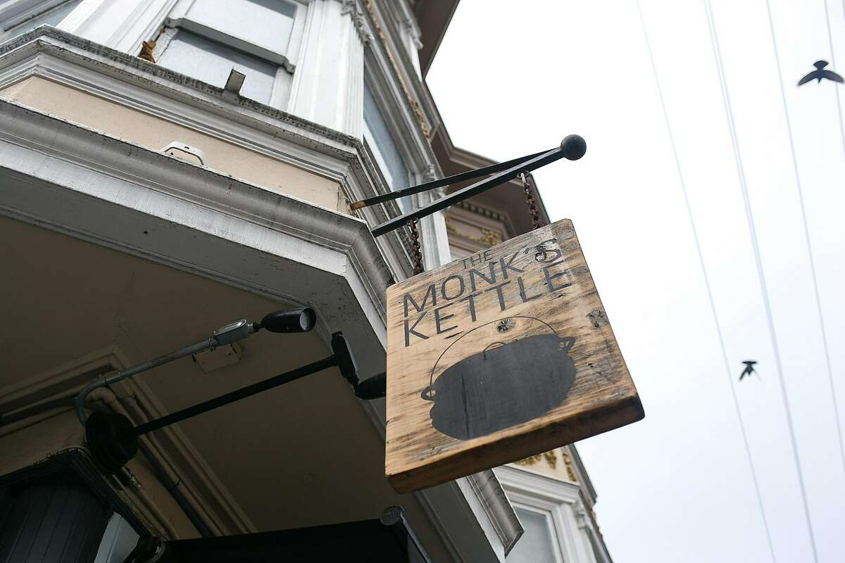 The sign at Monk's Kettle. The name is inspired by the Belgian Trapist monks, who used to brew beer in kettles.