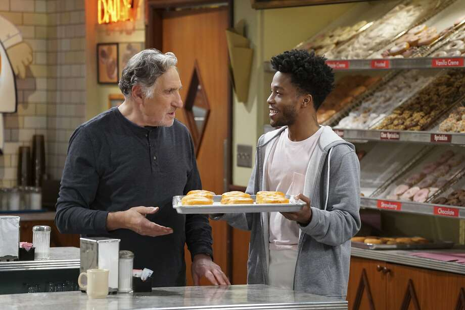 "Judd Hirsch and Jermaine Fowler star in new topical CBS comedy, ""Superior Donuts,"" which has echoes of the 1970s sitcom ""Chico and the Man."" Photo: CBS, Monty Brinton/CBS"