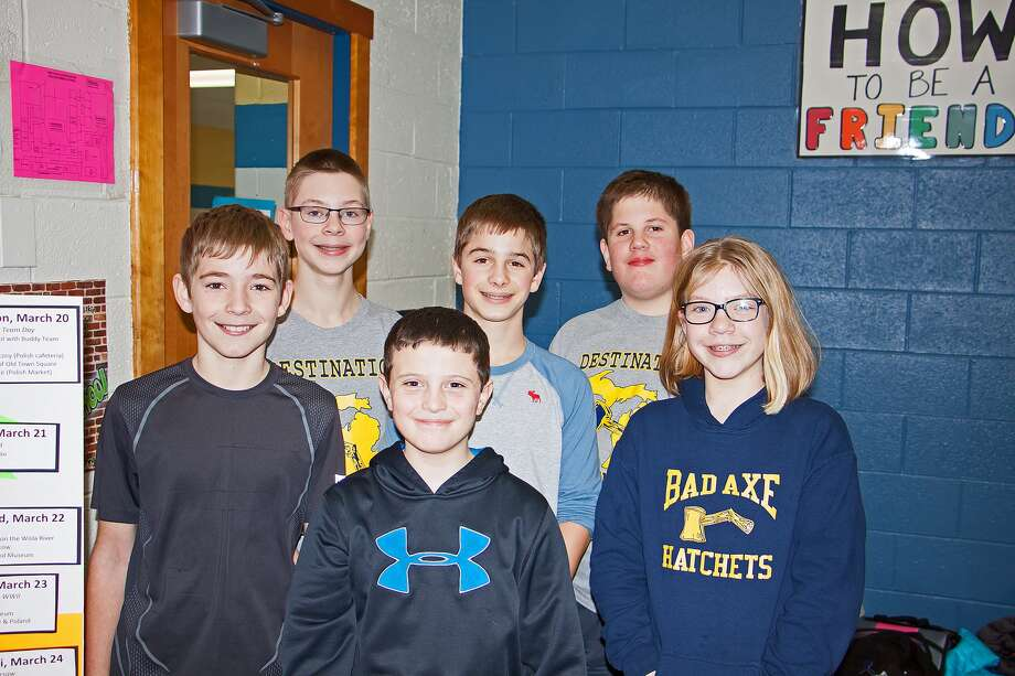 Some of the kids in the Destination Imagination program are (from left), back row, Alex Castle, Sam Hass, and Matthew Kubacki, and front row, Nicholas Clarent, Logan Miles and Claire Castle. Photo: Bill Diller/For The Tribune