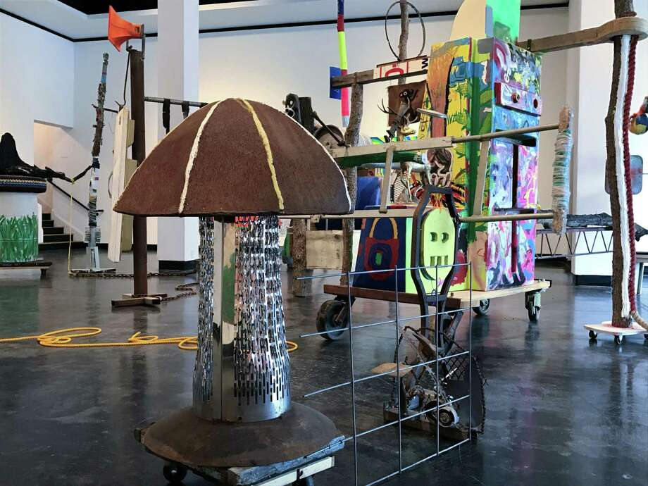"A detail of Glenn Downing's installation ""Pulltight, Texas"" at Lawndale Art Center. Photo: Molly Glentzer, Houston Chronicle"