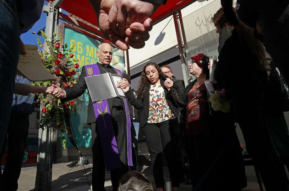 The Archbishop of San Francisco Salvatore Cordileone leads a prayer service on the corner of O' Farrell and Larkin streets, for Gabriel Ramirez. After the memorial, the archbishop offered his thoughts on the early days of the Trump presidency. Photo: Michael Macor, The Chronicle