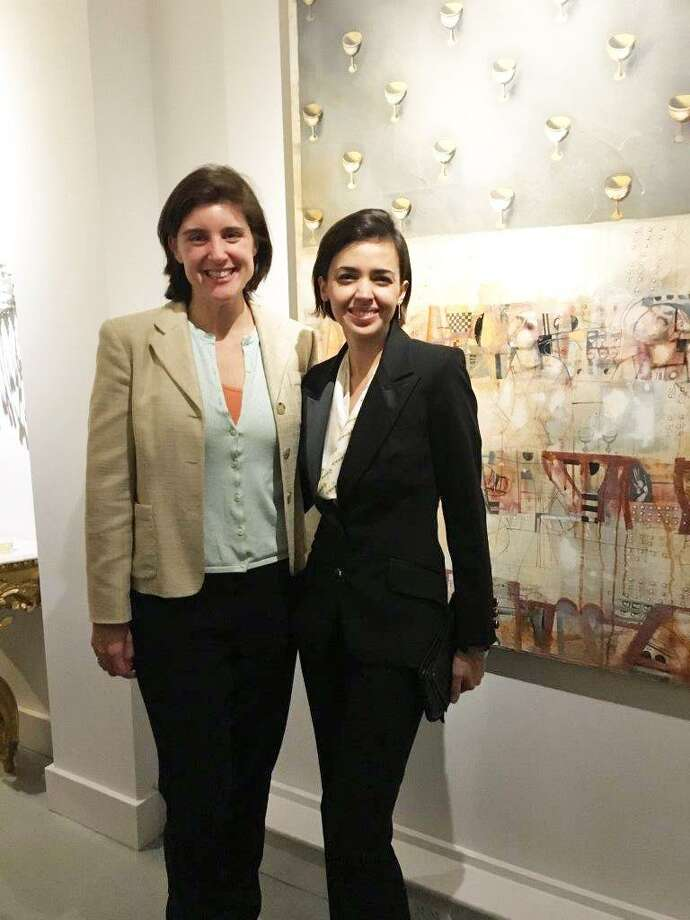 Cos Cob resident Katie Deluca and artist Nadia Martinez at the YMCA Greenwich Junior Board's benefit for BANC at Zorya Fine Art  in Greenwich on Thursday evening. Photo: Contributed