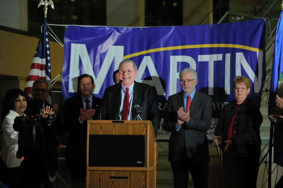 Stamford Mayor David Martin announces his bid for a second term at UCONN-Stamford. Photo: Matthew Brown / Matthew Brown