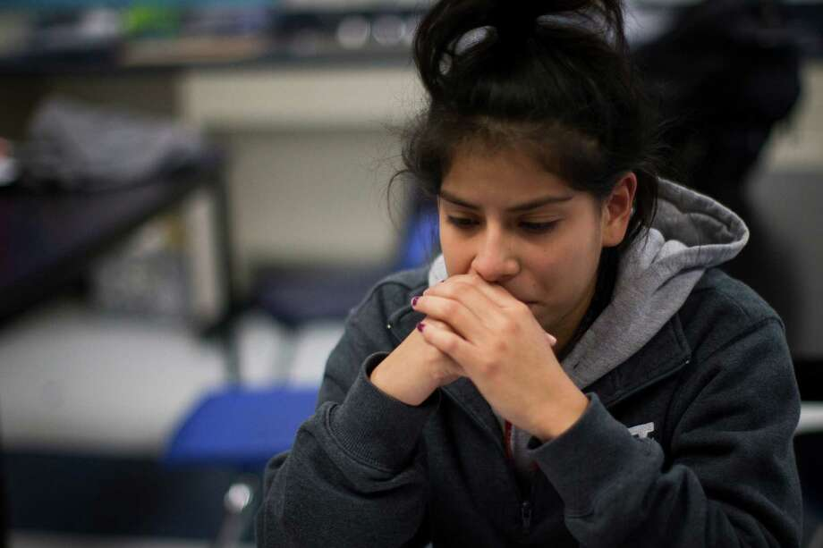 "Monica Alfaro, a YesPrep Gulfton student gets emotional as she shares with other ""dreamer"" club members the pain she feels to think that Deferred Action for Childhood Arrivals would get repealed by President Donald Trump. Thursday, Jan. 26, 2017, in Houston. Photo: Marie D. De Jesús, Houston Chronicle / © 2017 Houston Chronicle"