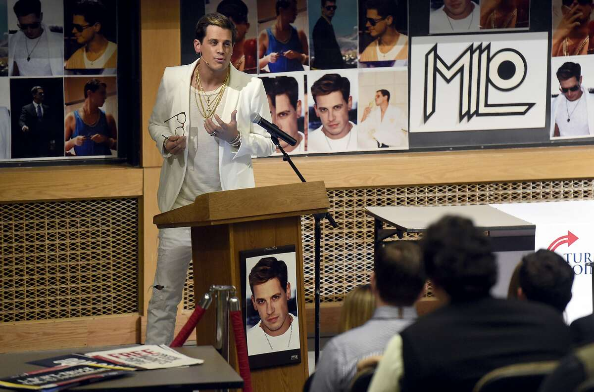 Milo Yiannopoulos speaks on campus in the Mathematics building on the University of Colorado in Boulder, Colo., Wednesday, Jan. 25, 2017. Yiannopoulos is an editor at the alt-right website Breitbart News. The alt-right is an offshoot of conservatism mixing racism, white nationalism and populism. (Jeremy Papasso/Daily Camera via AP)