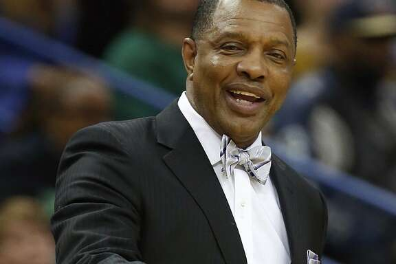 New Orleans Pelicans coach Alvin Gentry reacts to a call during the first half of the team's NBA basketball game against the San Antonio Spurs in New Orleans, Friday, Jan. 27, 2017. The Pelicans won 119-103. (AP Photo/Tyler Kaufman)