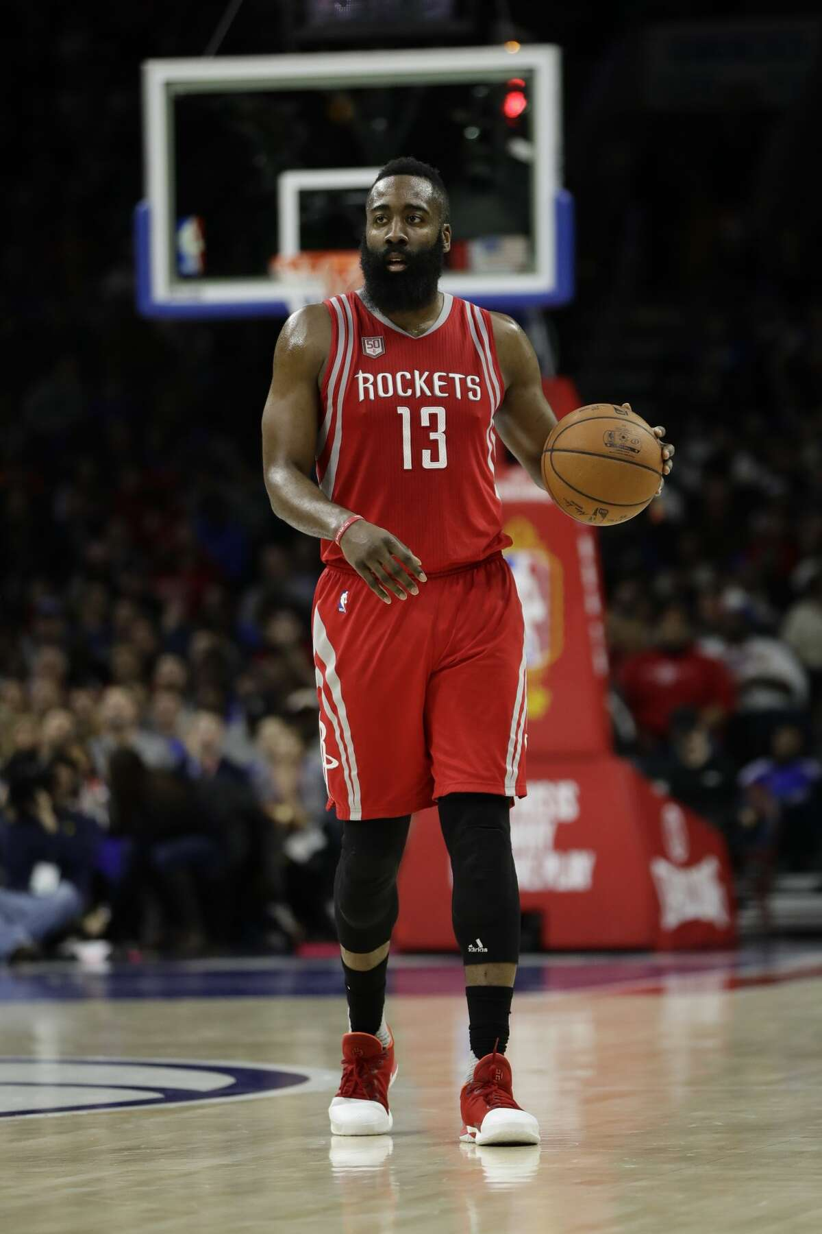 Houston Rockets' James Harden in action during an NBA basketball game against the Philadelphia 76ers, Friday, Jan. 27, 2017, in Philadelphia. (AP Photo/Matt Slocum)