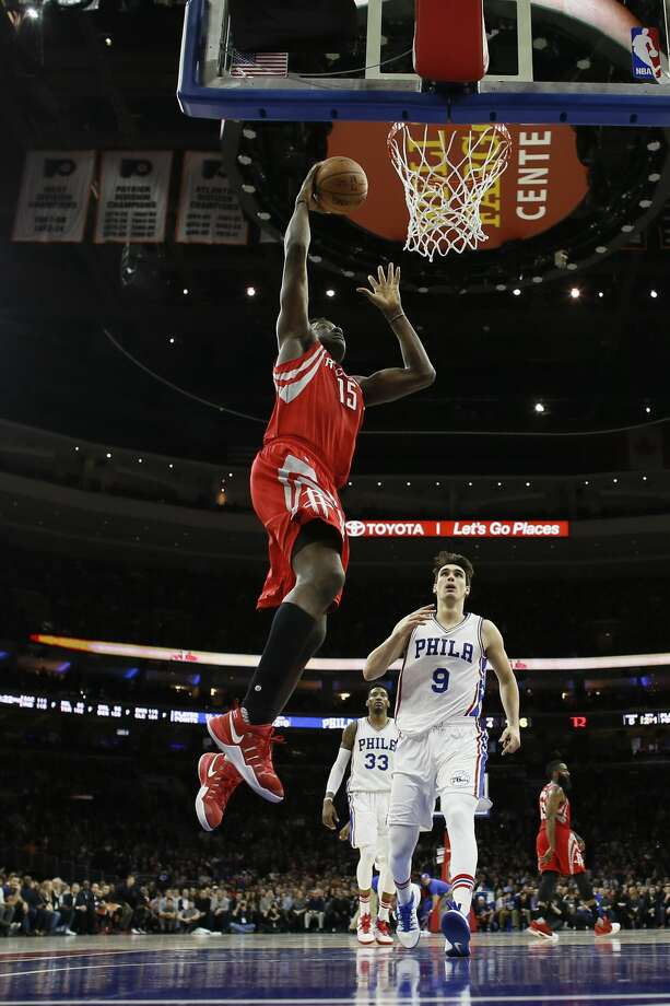 Houston Rockets' Clint Capela in action during an NBA basketball game against the Philadelphia 76ers, Friday, Jan. 27, 2017, in Philadelphia. (AP Photo/Matt Slocum) Photo: Matt Slocum/Associated Press