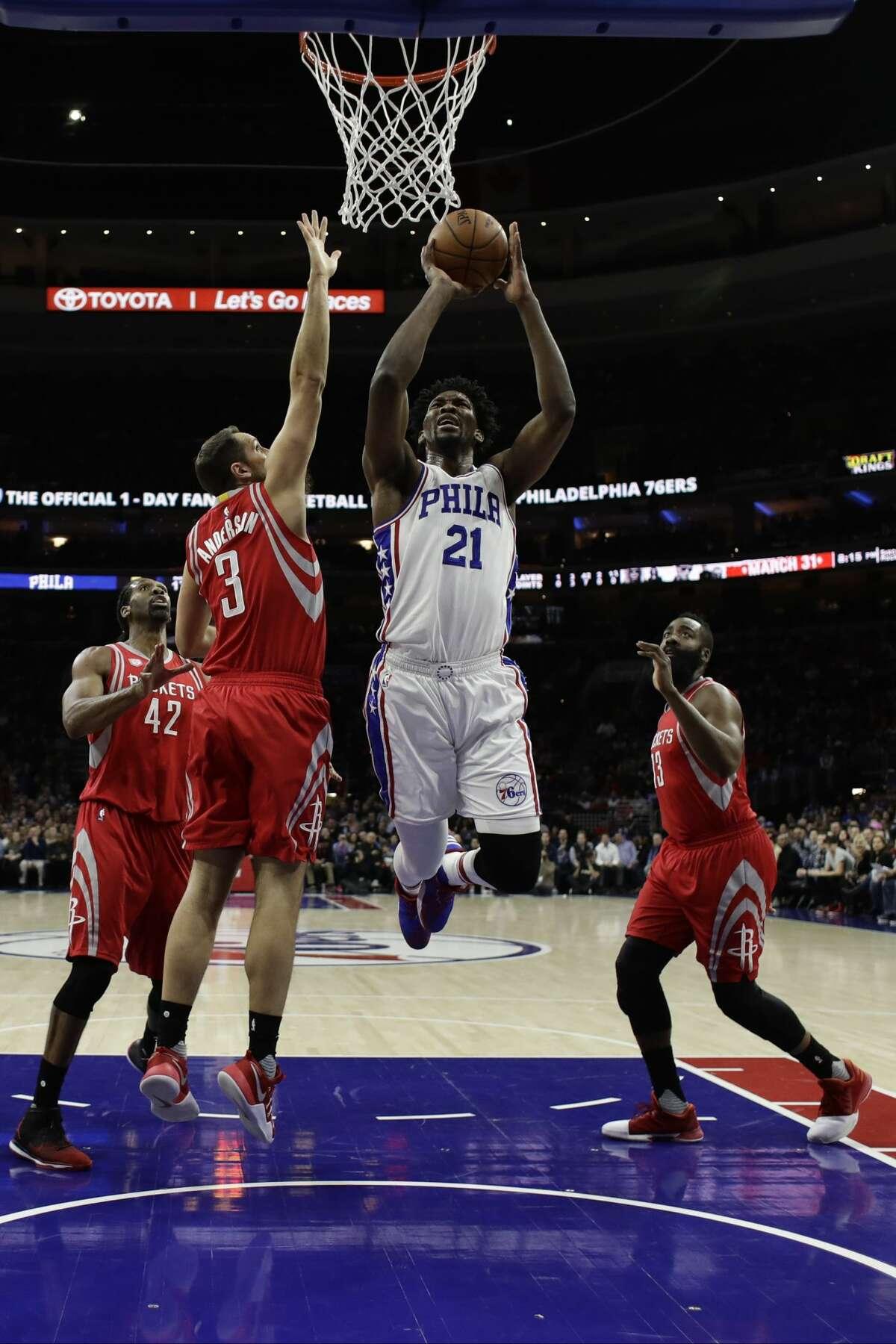 Philadelphia 76ers' Joel Embiid in action during an NBA basketball game against the Houston Rockets, Friday, Jan. 27, 2017, in Philadelphia. (AP Photo/Matt Slocum)