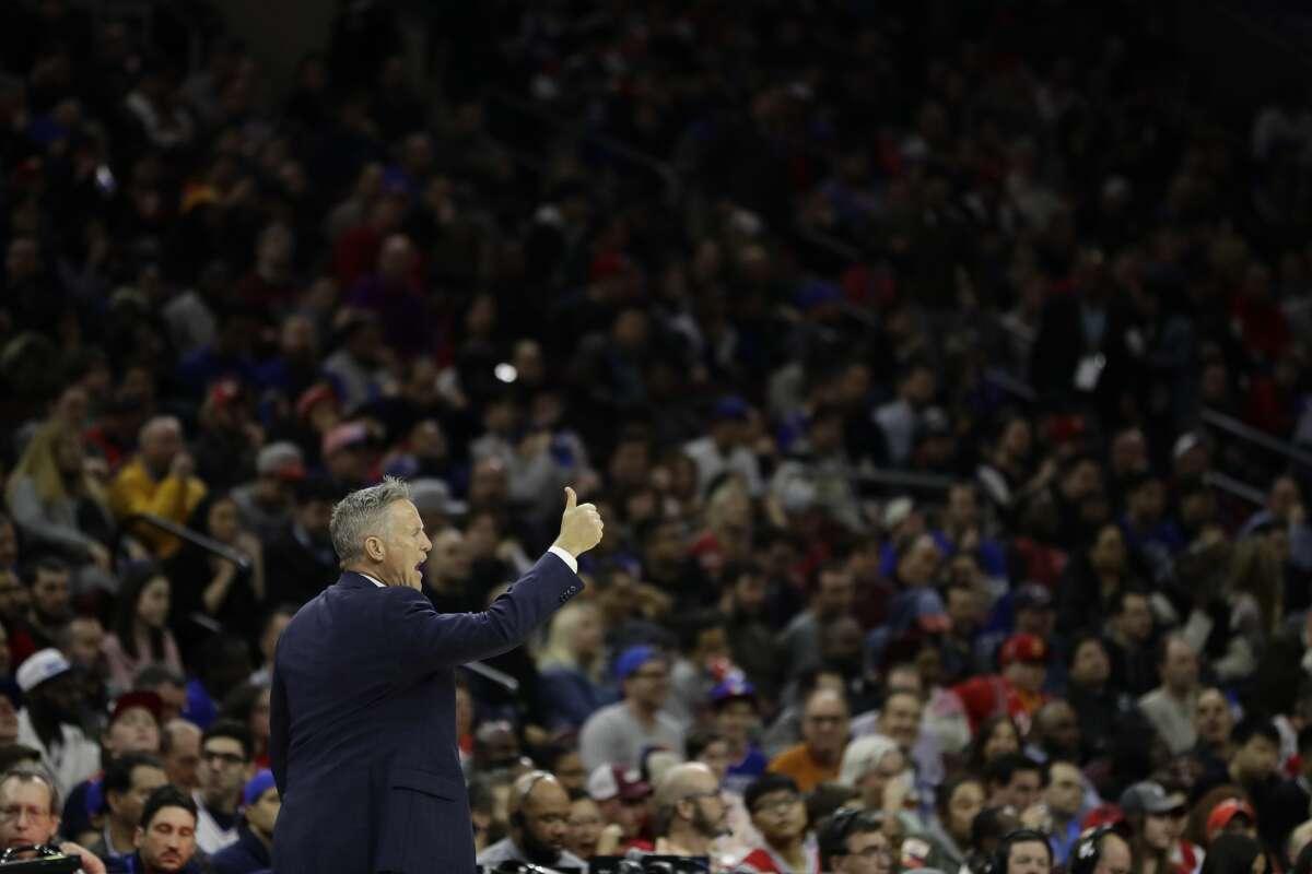 Philadelphia 76ers' Brett Brown in action during an NBA basketball game against the Houston Rockets, Friday, Jan. 27, 2017, in Philadelphia. (AP Photo/Matt Slocum)