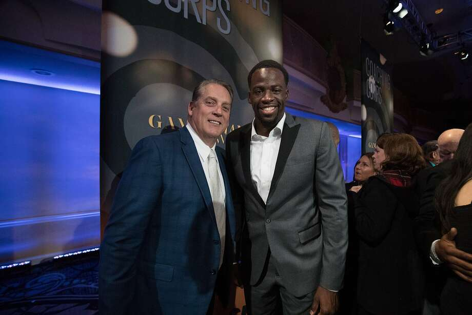 Raiders coach Jack Del Rio and Golden State Warriors Draymond Green at the Coaching Corps Game Changer Awards on Friday, Jan. 27, 2017 in San Francisco.  The Coaching Corps Game Changer Awards will featured top Bay Area professional athletes celebrating the profound influence of coaches on their lives and in the community. Photo: Paul Kuroda, Special To The Chronicle