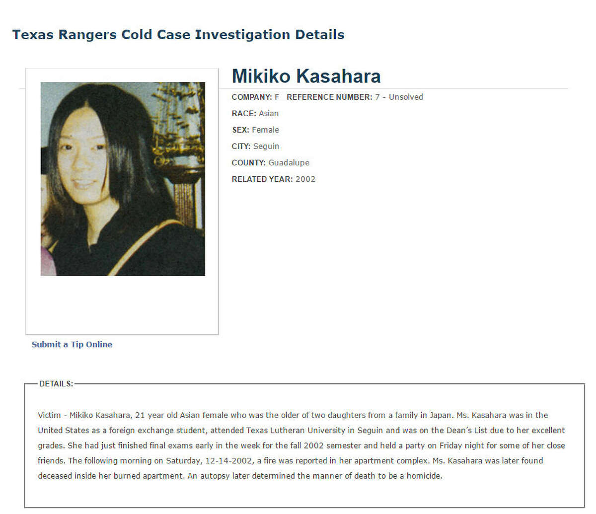 Tips soughtTexas Department of Public Safety officers have begun republicizing the case of 21-year-old Mikiko Kasahara. Her murder has gone unsolved for 15 years. >>>Click through the gallery to see more unsolved crimes in Harris County.