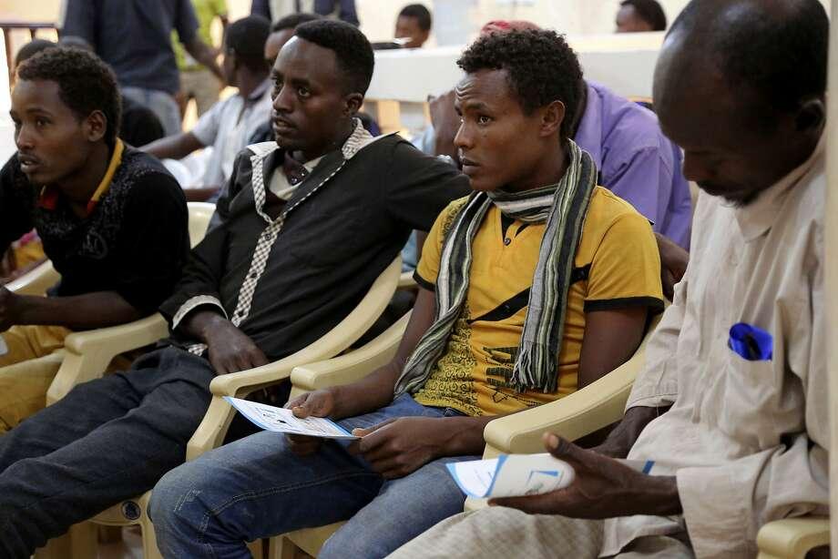 Ethiopians at a refugee center in Aden, Yemen, hope to reach Saudi Arabia despite Yemen's fighting. Photo: Maad Al-Zikry, Associated Press