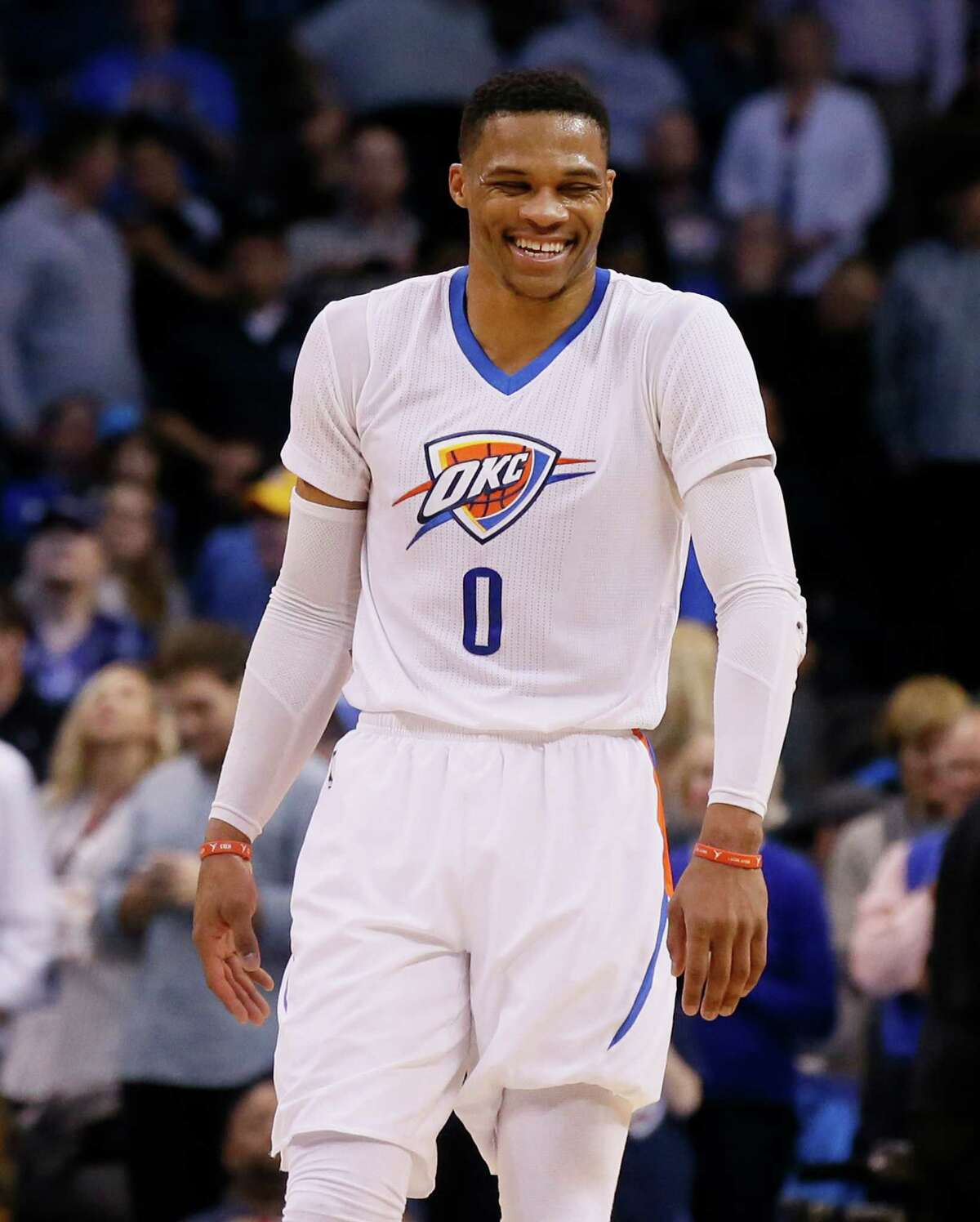 Oklahoma City Thunder guard Russell Westbrook (0) laughs in the fourth quarter of an NBA basketball game against the Dallas Mavericks in Oklahoma City, Thursday, Jan. 26, 2017. Oklahoma City won 109-98. (AP Photo/Sue Ogrocki)