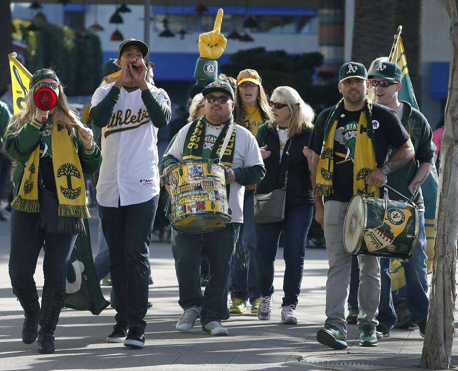 The Right Field Bleacher Die Hards drum up excitement for the Oakland A's at the team's annual FanFest celebration on Jack London Square in Oakland, Calif. on Saturday, Jan. 28, 2017. Photo: Paul Chinn, The Chronicle