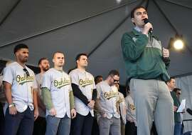 Team president David Kaval announces to fans that a new stadium plan will be revealed sometime during the upcoming season, after the players were introduced the Oakland A's FanFest celebration on Jack London Square in Oakland, Calif. on Saturday, Jan. 28, 2017.