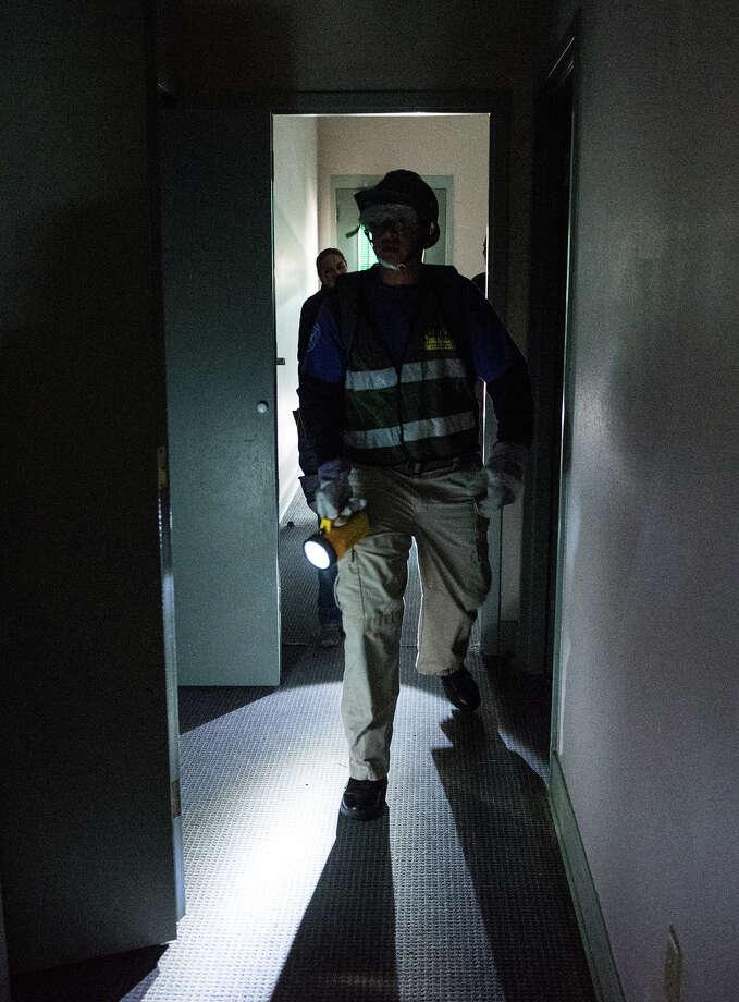 Members of the Border Patrol Explorers and Laredo Police Explorers participate in a rescue operation screnario as part of the Community Emergency Response Team training on Saturday, January 28, 2017 at Camp Huisache. Photo: Danny Zaragoza/Danny Zaragoza | Laredo Morning
