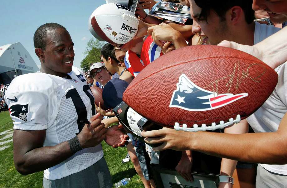 FILE - In this July 30, 2016, file photo, New England Patriots wide receiver Matthew Slater (18) signs autographs during NFL football training camp practice in Foxborough, Mass. New England's special team captain since 2011, the six-time Pro Bowl selection remains one the most respected players in the Patriots' locker room. He'll be trying for his second Super Bowl ring in Houston, a day after he receives the Bart Starr Award for character and leadership, which is voted on by his NFL peers. (AP Photo/Michael Dwyer, File) Photo: Michael Dwyer, Associated Press / Copyright 2017 The Associated Press. All rights reserved.