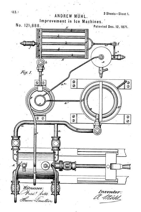 This drawing accompanied a patent application for Andrew Muhl's ice-making machine. Photo: U.S. Patent Office /Google