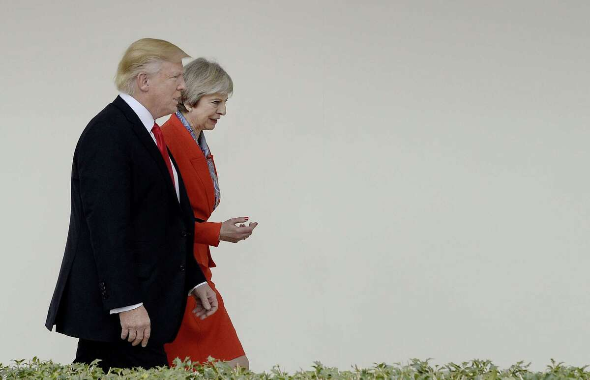 After visiting President Donald Trump, Prime Minister Theresa May dodged questions on U.S. refugee policy.