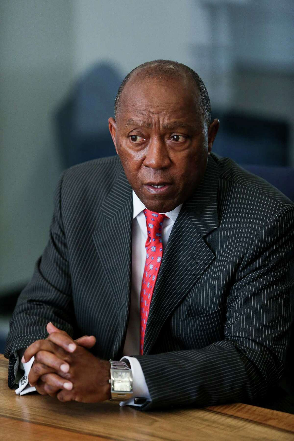 Houston mayor Sylvester Turner speaks to the Houston Chronicle editorial board Thursday, July 21, 2016. ( Michael Ciaglo / Houston Chronicle )