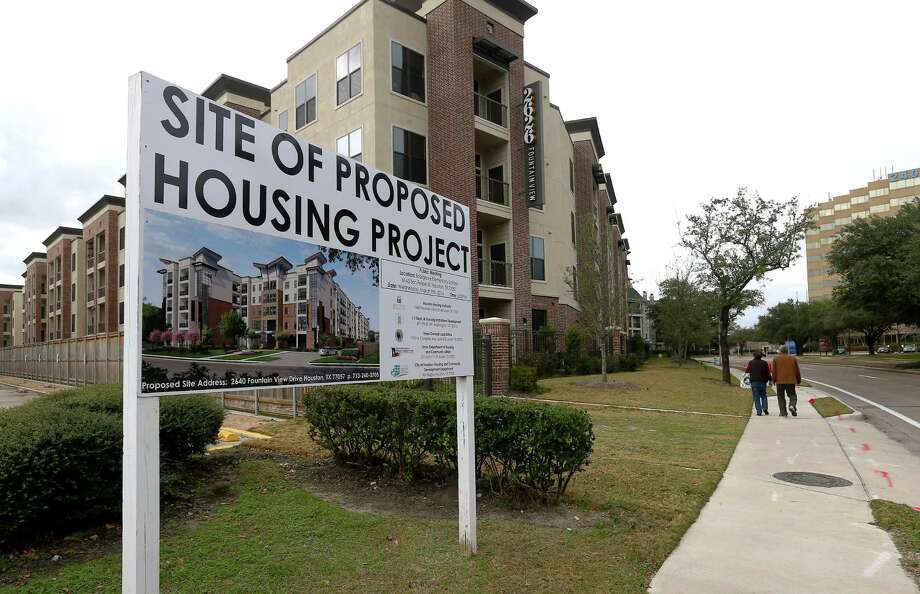 Despite a sign announcing a proposed Houston Housing Authority subsidized-housing complex at 2640 Fountain View, the project has been scrapped. Turner's rejection of the proposal led HUD to accuse the city of civil rights violations. Photo: Jon Shapley, Staff / © 2017  Houston Chronicle