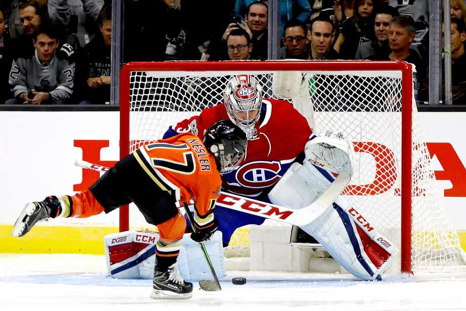 Ryker Kesler, 6-year-old son of Ryan Kesler, scores on Carey Price in the Shootout. Photo: Bruce Bennett, Getty Images