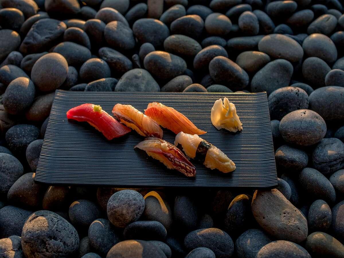 A selection of sushi at Kenzo Sushi, the restaurant at Napa's Kenzo Estate winery.