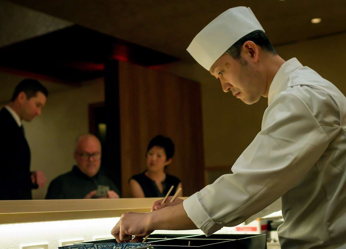 At Kenzo in Napa: Chef Eiji Onoyama at work.