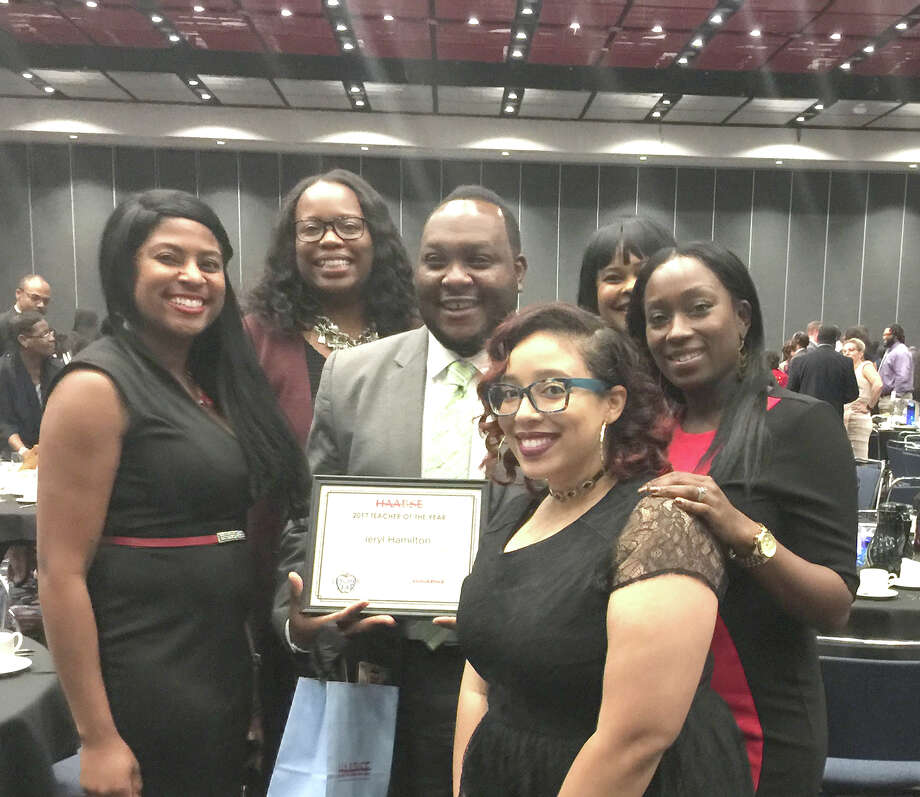 Jeryl Hamilton, pictured here surrounded by colleagues from Clark        Primary School, was one of 14 teachers representing the district at the        2017 HAABSE Outstanding Teacher Awards and Recognition Ceremony. Photo: Submitted