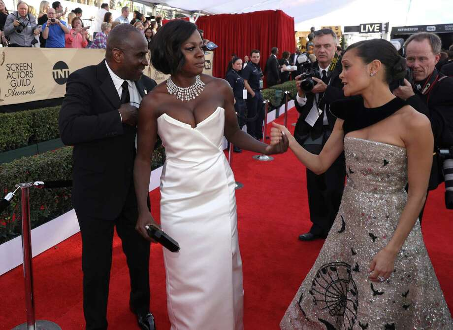 Julius Tennon, from left, Viola Davis and Thandie Newton arrive at the 23rd annual Screen Actors Guild Awards at the Shrine Auditorium & Expo Hall on Sunday, Jan. 29, 2017, in Los Angeles. (Photo by Matt Sayles/Invision/AP) Photo: Matt Sayles, Matt Sayles/Invision/AP / 2017 Invision