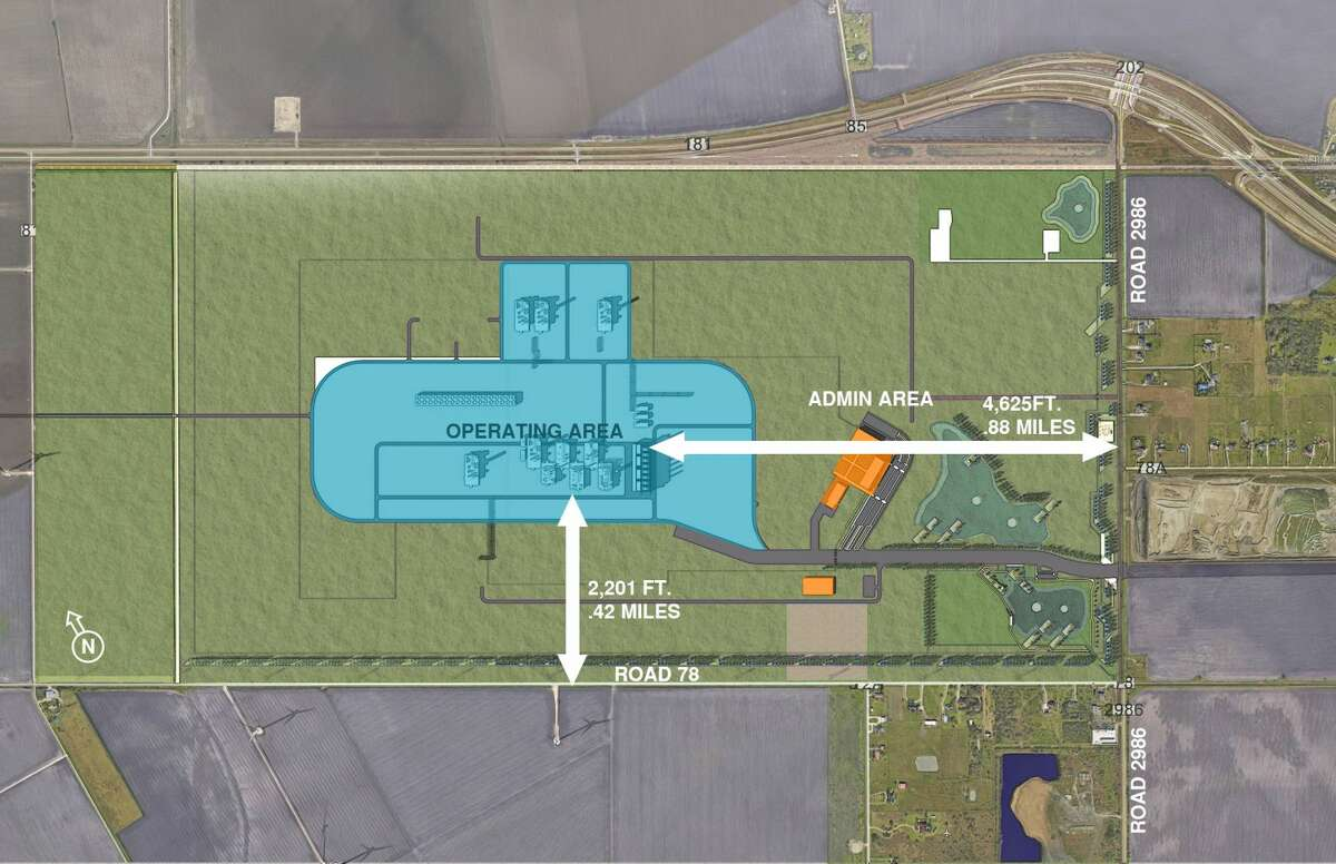 The Exxon Mobil and SABIC petrochemical project includes buffer zones of at least 0.42 miles that would separate the operating plant area from surrounding farmlands and homes.