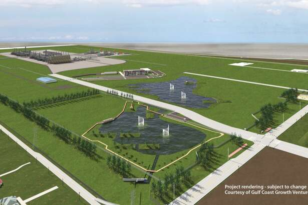 """The project rendering from Exxon Mobil and SABIC focuses on green space and water fountains, while placing the plant operations in the background. The rendering notes the designs are """"subject to change."""""""